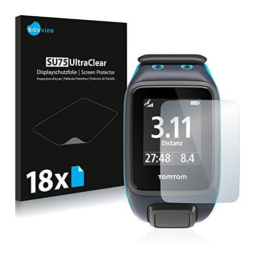 Savvies 18x Schutzfolie kompatibel mit Tomtom Runner 2 Bildschirmschutz-Folie Ultra-transparent