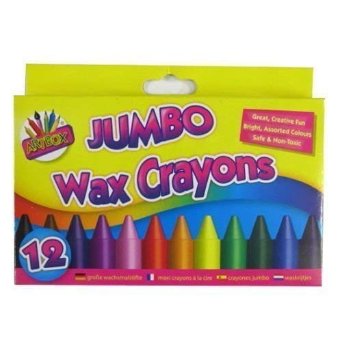 The Home Fusion Company Children Kids 12 X Jumbo Wax Crayons Art Craft Birthday Party Loot Bag Fillers