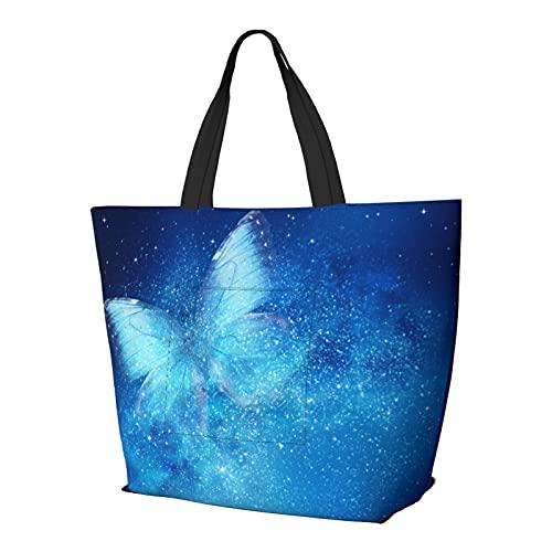 OUCSSDLTD - Borsa a tracolla in marmo, con pratiche tasche, colore: Nero, Farfalla stellata blu, Taglia unica