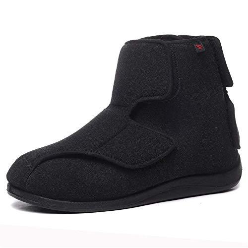SZFGYJ Zapatos De Los Hombres Diabéticos, Cálido Caminar Zapatos Cierre Ajustable Ligera Mayores De Tirón para Los Pies Hinchados, Ancianos, Diabéticos, Edema, Pies De Ancho,45