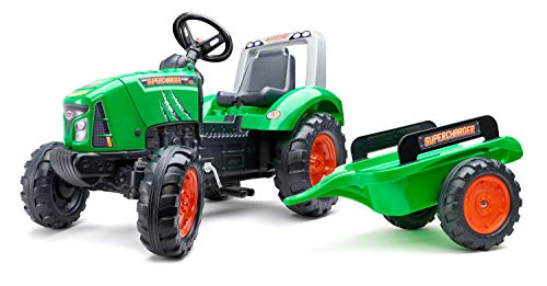 FALK - Tracteur à pédales Supercharger avec remorque - Dès 3 ans - Fabriqué en France - Capot ouvrant - Siège ajustable - 2021AB