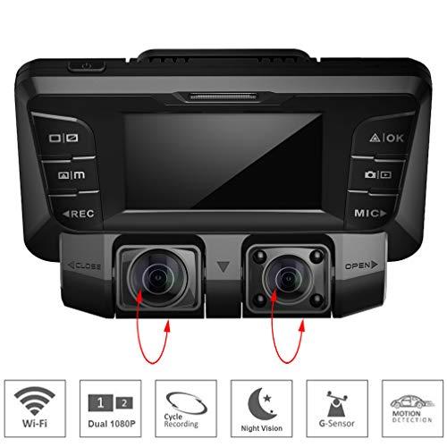 SZKJ V28 Telecamera nascosta 4K per cruscotto auto DVR Dual sony imx323 Channel Full HD1080p + 1080p Wide Angle Visione notturna a infrarossi WiFi anteriore e interna per Taxi Uber