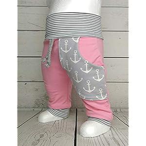 Baby Pumphose mit Tasche Anker Rosa Grau handmade Puschel-Design