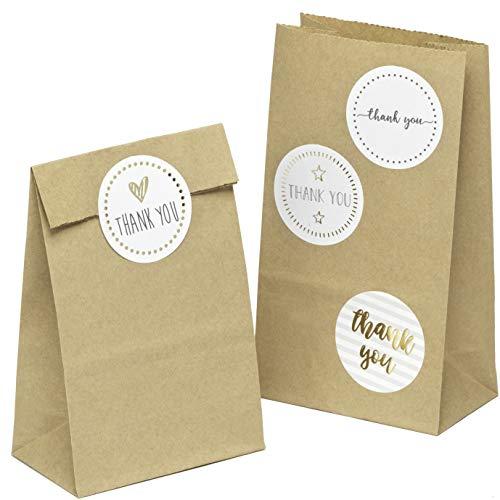kgpack 100x Art & Craft DIY Borse Carta kraft con adesivo THANK YOU 9 x 16 x 5 cm | Sacchetti di carta Kraft per attività per bambini | Calendario dell'avvento | Sacchetto di carta per alimenti