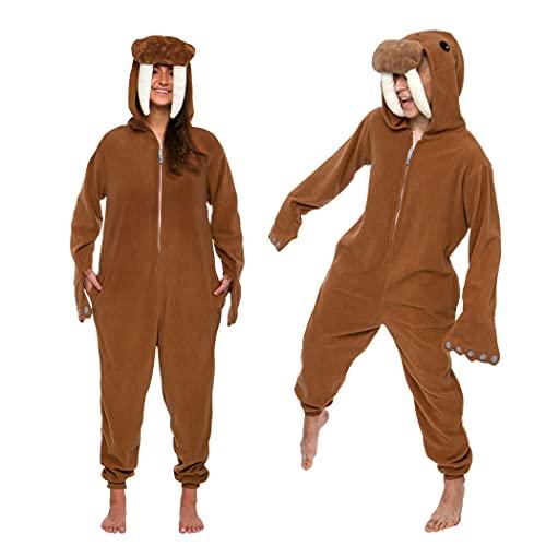 Funziez! - Walrus Costume - Animal Pajamas - Adult Loungewear (Brown, Medium)
