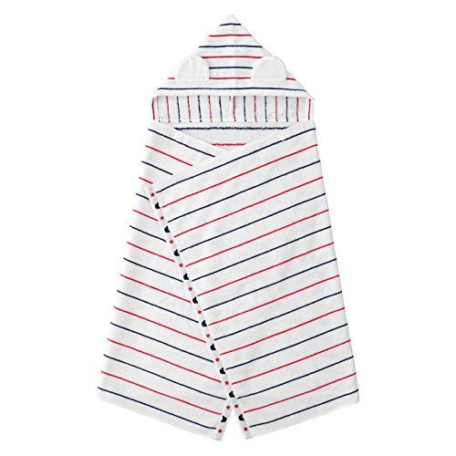 赤ちゃんの城 フード付きバスタオル ボーダー バスポンチョ お風呂 今治タオル 沐浴 オフホワイト 日本製