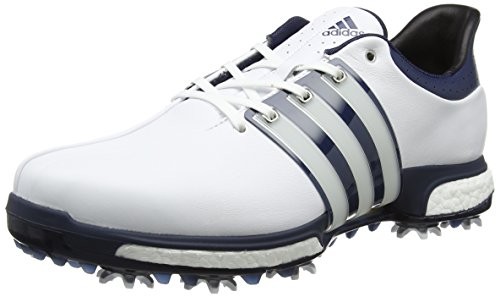 adidas Herren Tour 360 Boost Golfschuhe, Mehrfarbig (White/Dark Slate/Silver Metallic), 44 2/3 EU