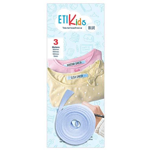 1rotolo di nastro in tessuto da 3metri x 1 cm, di colore blu. Etichetta termoadesiva personalizzabile da scrivere con la penna. Penna non inclusa.