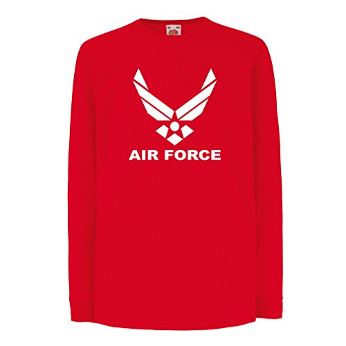 lepni.me Niños/Niñas Camiseta United States Air Force (USAF) - U. S. Army, USA Armed Forces (5-6 Years Rojo Blanco)