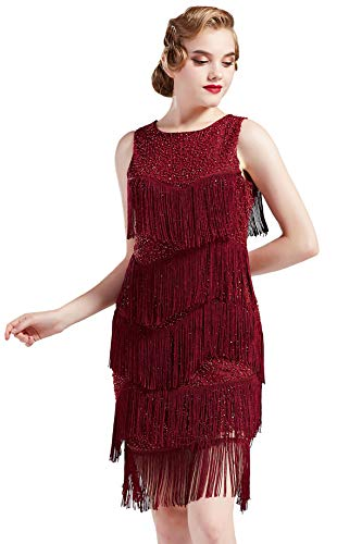 Coucoland Sukienka damska z okrągłym dekoltem w stylu lat 20., elegancka, suknia wieczorowa z wielowarstwowymi frędzlami, styl retro lata 20. Wielki Gatsby, koktajl party, kostium karnawałowy, czerwony (Weinrot), L