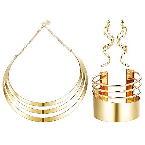 Udalyn Bib Choker Necklace Set for Women Wide Cuff Bangle Bracelets Statement Dangle Earrings Jewelry