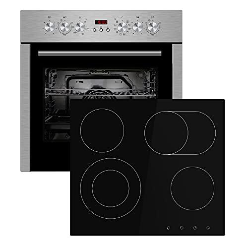 Juego de cocina KKT KOLBE: horno empotrado de 60cm con vitrocerámica de 59cm / aire caliente/doble zona/zona de asado/convección/grill/extraíbles telescópicos/limpieza a vapor / SET6011ED