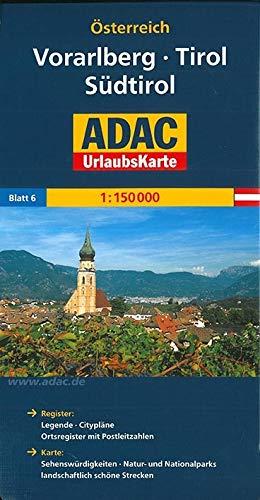 ADAC Urlaubskarte Vorarlberg, Tirol, Südtirol 1:150.000: Register: Legende - Citypläne - Stadtinfo - Ortsregister. Karte . Sehenswürdigkeiten - Natur- ... schöne Strecken (ADAC Urlaubskarten)