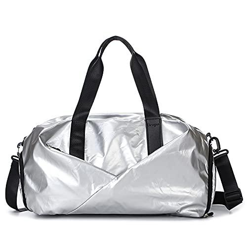 WYWY Bolsa de viaje Mano Distancia corta fuera de la luz Bolsa de equipaje de las mujeres Massive Dry Wet Separation Sports Yoga Fitness (Plata)