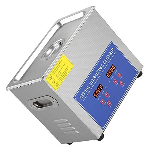 Limpiador acústico PS-10A 2L digital de acero inoxidable para baño de alta precisión y estabilidad de control de movimiento de joyería Gafas de piezas pequeñas para los profesionales o aficionados