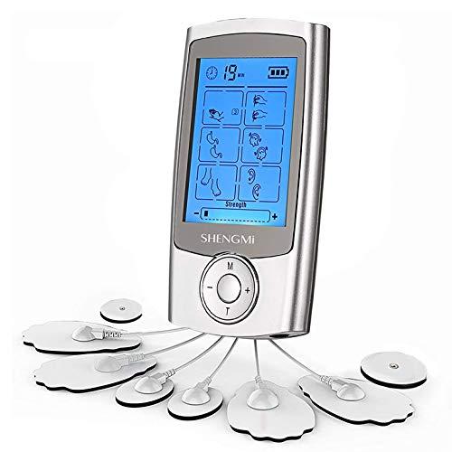 Electroestimuladores TENS/EMS Digital Masaje Portatil, 2 Canales Estimulador Muscular Recargable Masajeador Electro para Alivio del Dolor de Cervical/Piernas/Abdominal/Cuello (16 Modos 8 Pads)