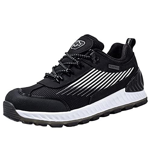 Zapatos De Senderismo para Hombres A Prueba De Agua Sendero Al Aire Libre Running Zapatillas De Deporte Amortiguador Transpirable Ligero Antideslizante,Negro,43EU