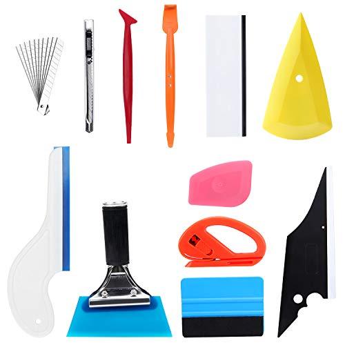 Fippy 12 STÜCKE Auto Folierung Set, Car Autofolien Tönungsfolie Set, Tönung Vinyl Wrap Werkzeuge mit Austauschbarer Gummi-Rakel, Filzrakel, Abstreifer, Universalmesser