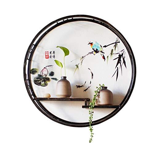 HSJ Estantería de Pared decoración Zen de Hierro Forjado Colgante de Pared salón Colgante de Pared Porche Mobiliario (Color : B)
