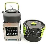 Acampar Olla Pan Set Y La Estufa Que Acampa Cocinar Al Aire Libre Determinado De La Cocina Al Aire Libre Plegable De La Estufa Caldera 2-3 Personas Equipo De Picnic Verde