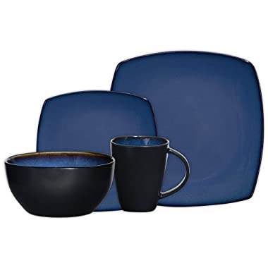 Gibson Elite 61221.16RM Soho Lounge 16-Piece Square Reactive Glaze Dinnerware Set, Blue