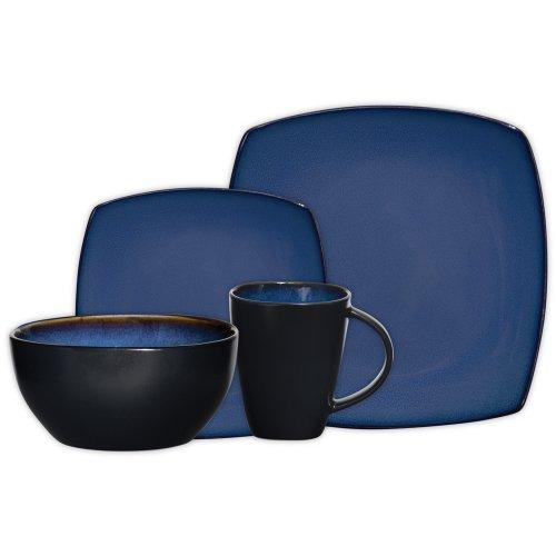 Gibson Elite Soho Lounge Square 16-Piece Reactive Glaze Dinnerware Set Service of 4, Stoneware, Blue