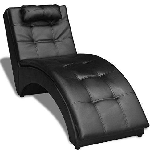 Lingjiushopping Chaise Longue à roulettes avec Coussin en Cuir Artificiel Noir Couleur : Noir Matériau : châssis en Bois + Jambes en Acier + revêtement en Cuir synthétique