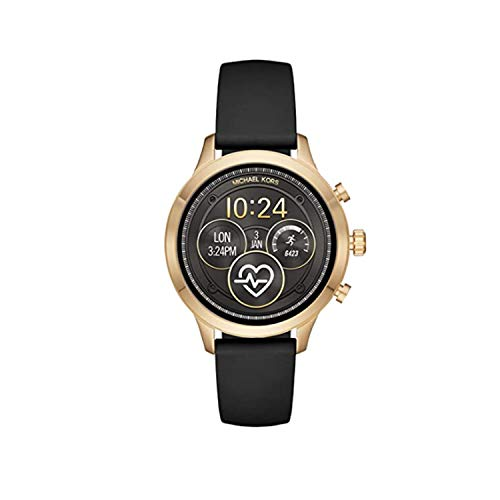 Michael Kors Women's Access Gen 4 Runway Plated Touchscreen Watch with Stainless Steel Silicone Strap, Black,...