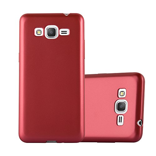 Cadorabo Custodia per Samsung Galaxy Grand Prime in Rosso Metallico - Morbida Cover Protettiva Sottile di Silicone TPU con Bordo Protezione - Ultra Slim Case Antiurto Gel Back Bumper Guscio