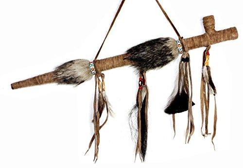 Hejoka-Shop NEU Indianer Pfeife 50 cm. Friedenspfeife aus Holz VOLL-Leder umwickelt, Fasching Fotoshooting JR106