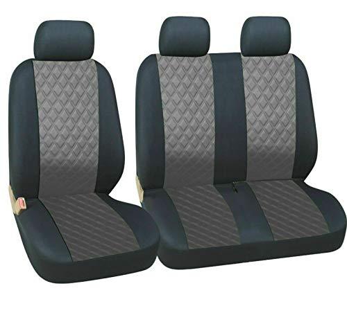 AB1 Flexzon - Fundas universales para asientos de furgoneta (polipiel, 1 y 2 unidades), color gris