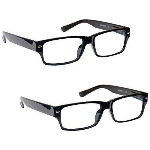 UV Reader Negro Gafas De Lectura Valor Pack 2 Hombres Mujeres UVR2PK006 Dioptria +3,50