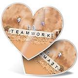 Impresionante 2 pegatinas de corazón de 7,5 cm – diseño en miniatura de trabajo en equipo para portátiles, tabletas, equipaje, reserva de chatarras, neveras, regalo genial #16730