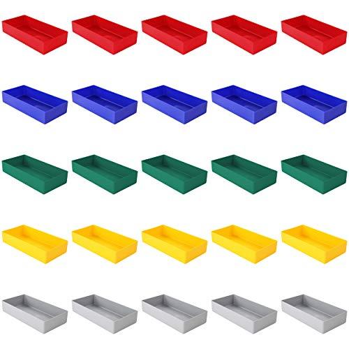 25 Stück Einsatzkasten Serie E40, farblich sortiert, 5 Farben u. 4 Größen, aus Polystyrol, Industrienorm, für Schubladen, Sortimentskästen etc. (E40/1, 198x99x40 mm)