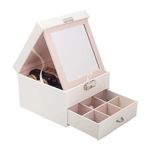WFLJ sieradenkistje, ruimtebesparend op het bureau, make-up-box, sieraden van PU-leer, met afneembare spiegel en lade, voor ringen, oorbellen, halskettingen