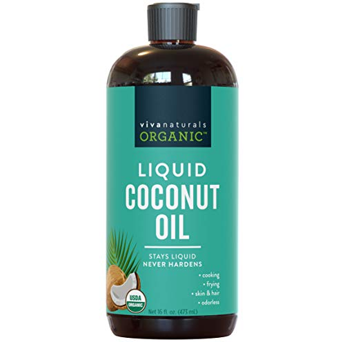 Organic Liquid Coconut Oil for Culinary & Beauty DIY Recipes, Moisturizing Hair Oil, Certified Organic & Non-GMO from Sustainably Farmed Coconuts, BPA-Free Bottle, 16 oz.