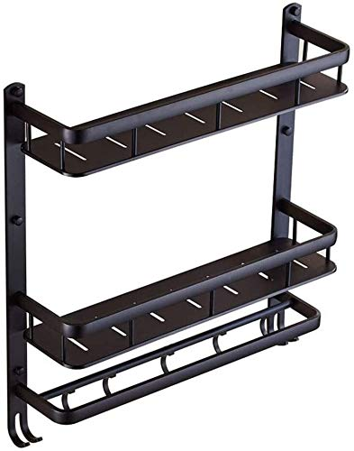 AINIYF Baño plataforma de baño ducha Organizador montado en la pared del sacador de espacio libre de aluminio multifunción torreta del colgador, Negro, 2, 3 Métodos de instalación estilos (Color: 2 Ni