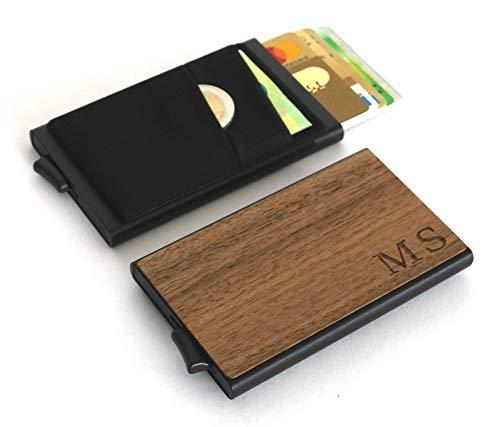 Kreditkartenetui aus Holz | Slim Wallet | Geldfach | Scheinfach | personalisiert mit Gravur | Kreditkartenhalter | RFID NFC Schutz | Geschenk Männer Frauen Papa Mama