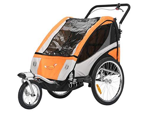 Fiximaster Remorque vélo enfant 2 en 1 multifonction - Convertible en poussette de jogging - Orange