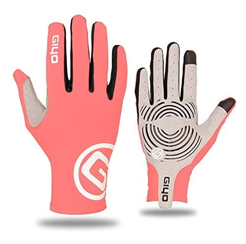 Guantes de Ciclismo Dedos Largos y completos Deportes Pantalla táctil Gel Deportes Mujeres Hombres Guantes Largos de Verano para DedosMTB Carreras de equitación-Pink-M