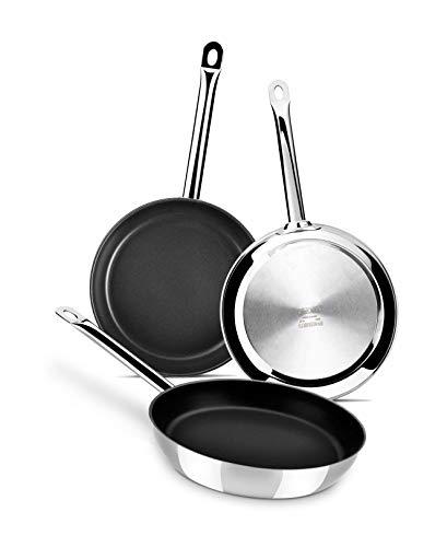 Monix Chef Non-Stick - Set de 3 sartenes 20-24-28 cm, acero inoxidable 18/10 con antiadherente, apta para todo tipo de cocinas incluida inducción