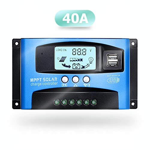 SolaMr 40A Regulador de Carga Solar 12V/24V Panel Solar Regulador de Carga de la Batería con...