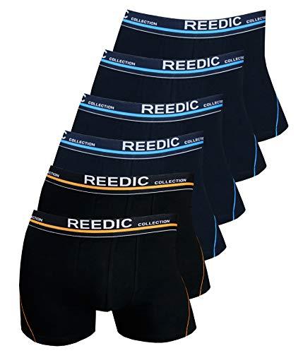 Reedic Herren Boxershorts Baumwolle 6er Pack, Größe Large (L), Farbe je 4X dunkelblau, je 2X schwarz