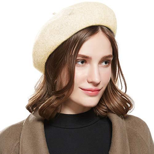 Welrog WELROG Französisch Baskenmütze Wolle Beiläufig Klassisch Einfarbiger Hut (Beige)