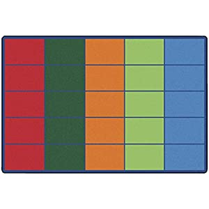 Carpets for Kids 4025 Colorful Rows Seating Rug – Seats 25 6ft x 9ft Rectangle
