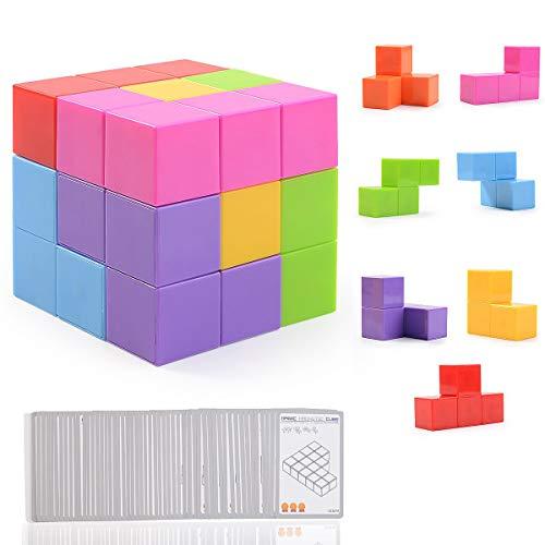 Ulikey Magnetische Würfel für Kinder mit 54 Smarte Teile Puzzles 3D Gehirn Training Intelligenz Spielzeug Spiele, Magnetische Bausteine Spielwaren Stressabbau Spielzeug Puzzles für Kinder