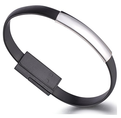 Unendlich U, Super elegante bracciale caricabatterie USB e cavo dati per Iphone Apple5/5s/5c/6/6s/6 Plus/6s Plus, iPod e iPad, 6 colori disponibili, colore: Nero , cod. b00202-black-bracelet