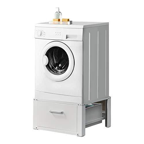 [en.casa] Waschmaschinen-Untergestell mit Schublade max. bis 150kg Stahl Podest Weiß