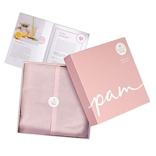 Pamela Reif Geschenk Box mit 6 veganen Snacks inkl.1 Kosmetikprodukt und kleinem Buch mit natürlichen Koch-Rezepten by Foodist