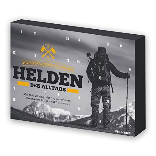 itenga Adventskalender für Männer Helden des Alltags Bergmotiv grau/schwarz gelb gefüllt mit 24 Überraschungen für den Mann